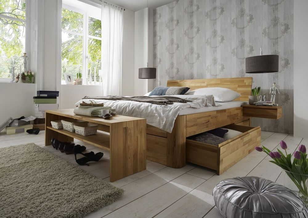 m h massivholzbettrahmen caro. Black Bedroom Furniture Sets. Home Design Ideas